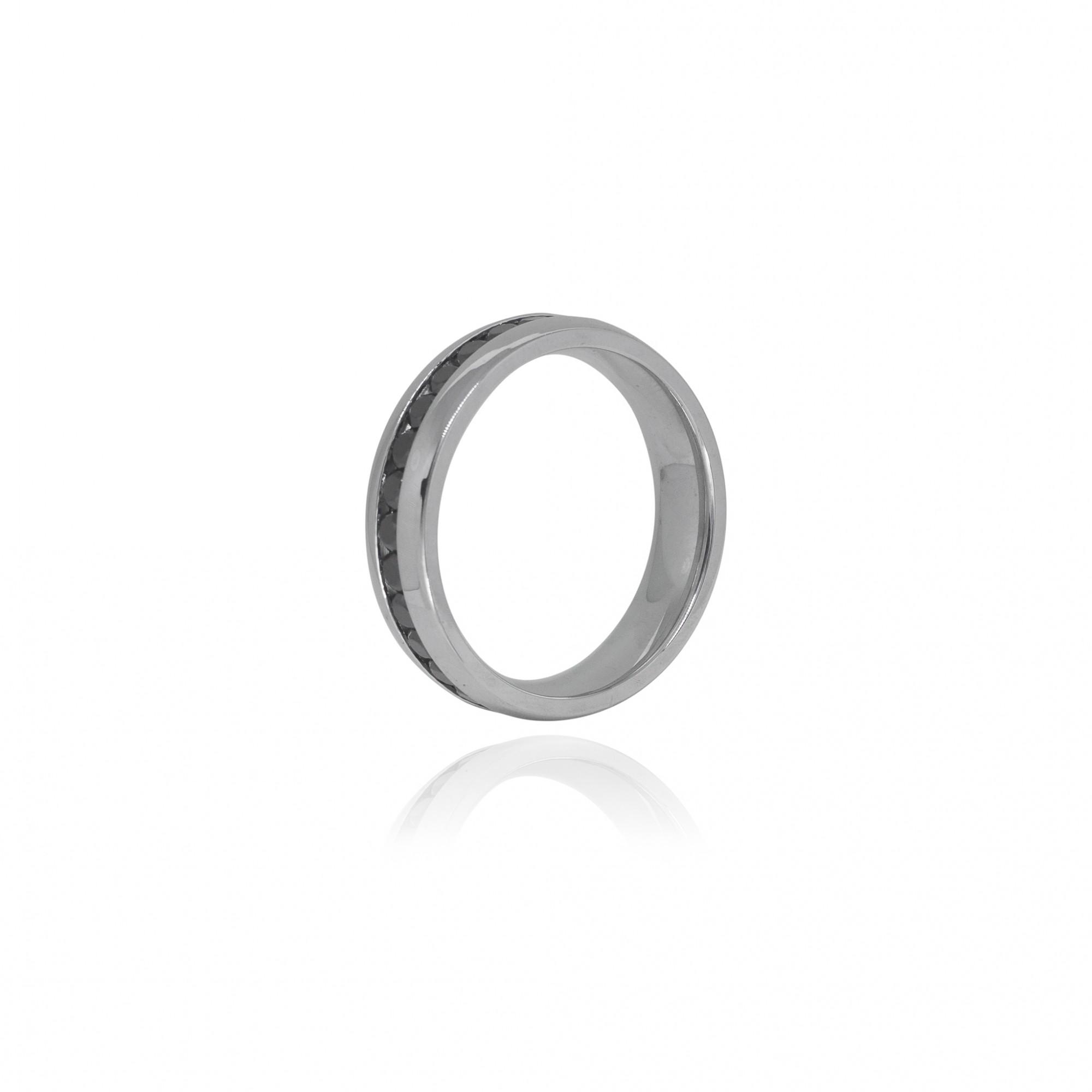 Aliança ou anel de aço inox e zircônias negras
