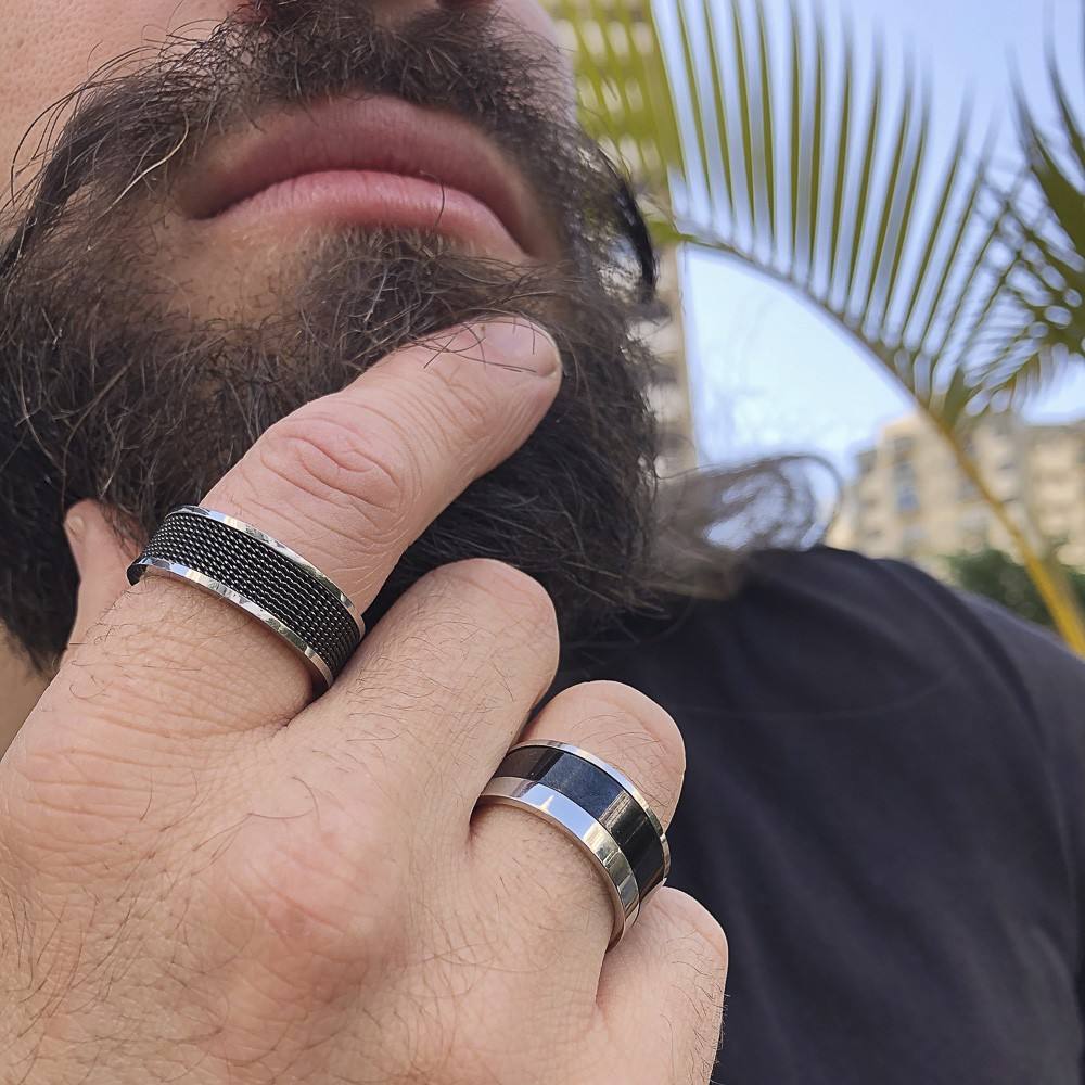 Aliança ou anel aço inox Faixa negra não risca nem escurece