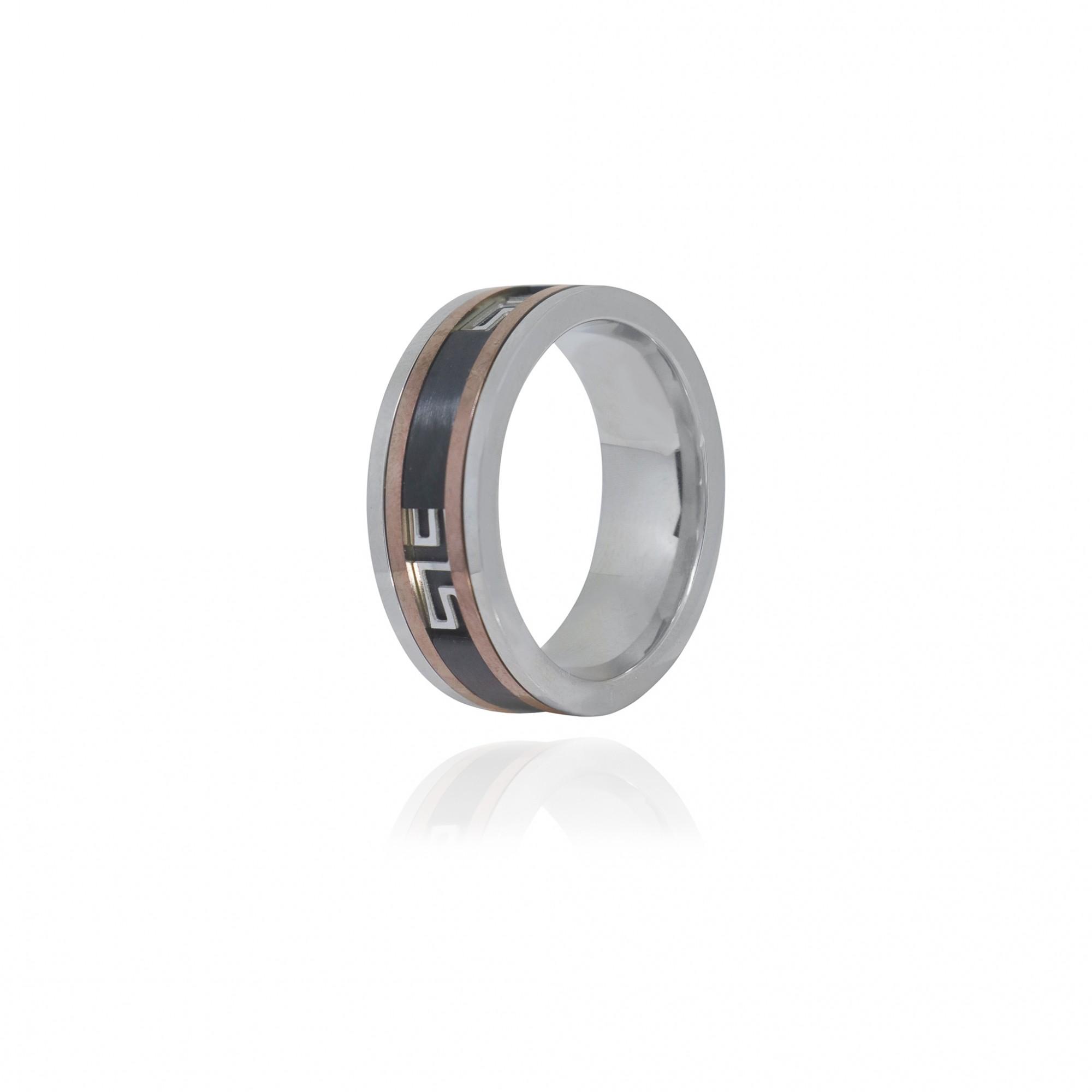 Aliança ou anel de aço inox giratório desenhos geométricos