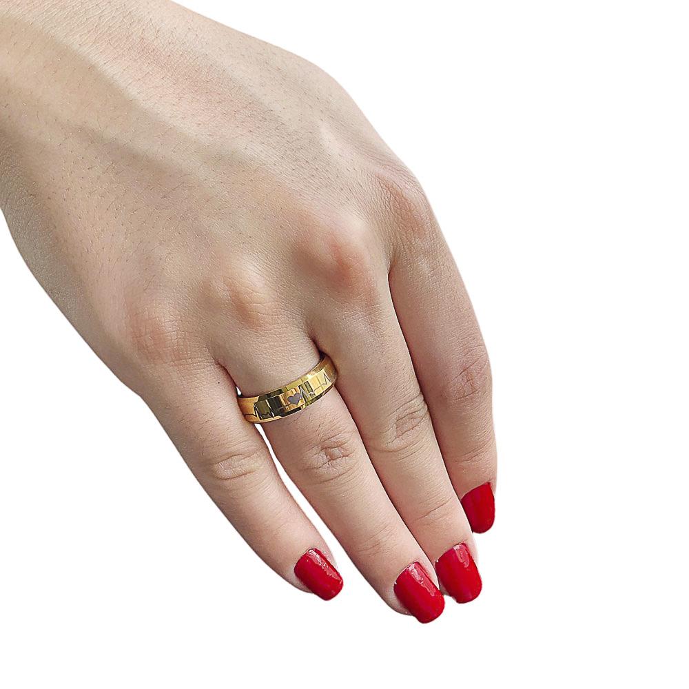 Aliança ou anel de Tungstênio com batimentos cardíacos