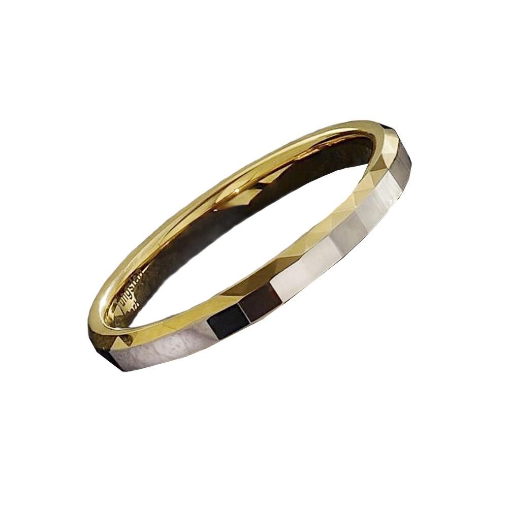 Aliança / anel tungstênio diamantado bicolor resistente