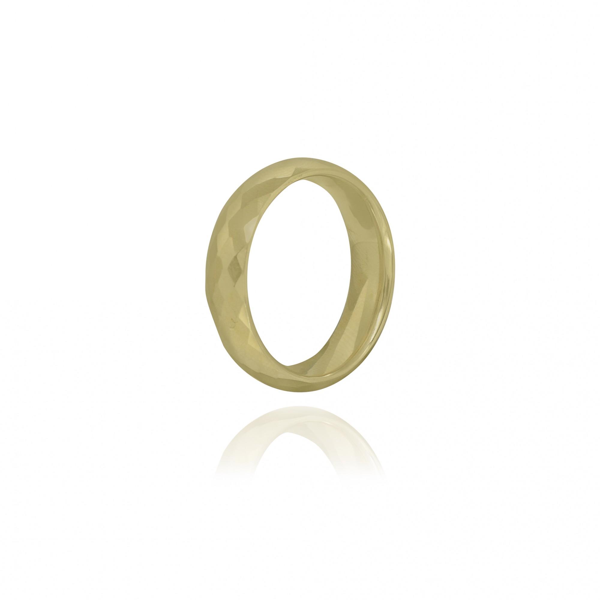 Aliança / anel tungstênio dourado Design losangos resistente