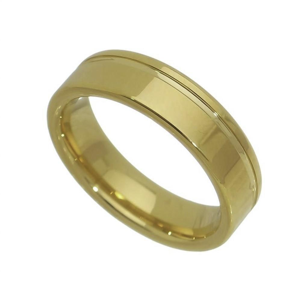 Aliança / anel tungstênio dourado Filete não risca