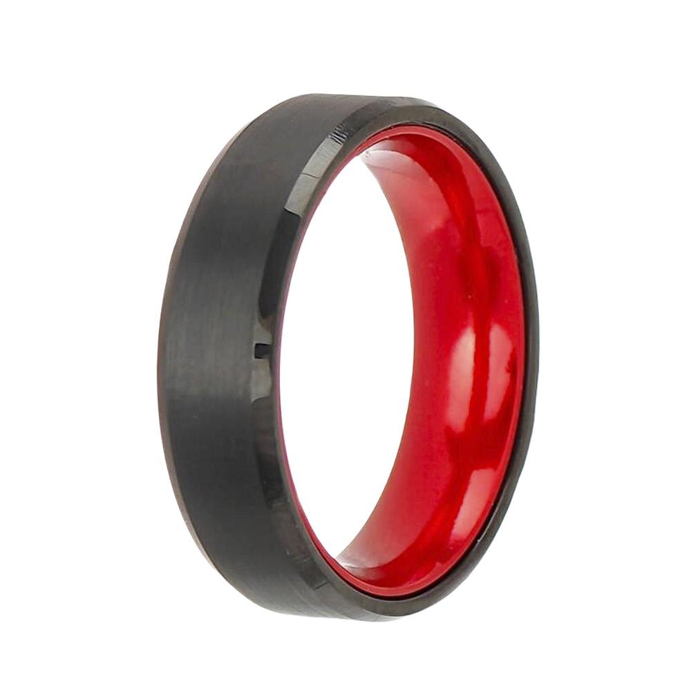 Aliança ou anel de tungstênio liso fundo anatômico vermelho