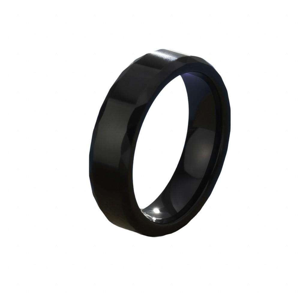 Aliança ou anel de tungstênio Sextavada diamantada