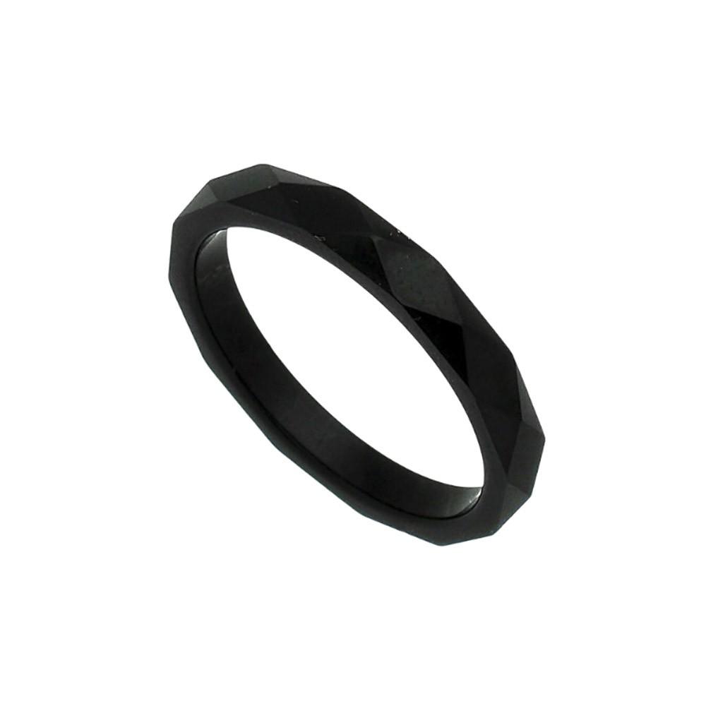 Aliança / anel tungstênio Sextavada negra não risca