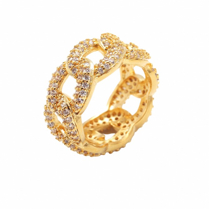 Anel elos cravejado de zircônia e folheado a ouro ou rhodium