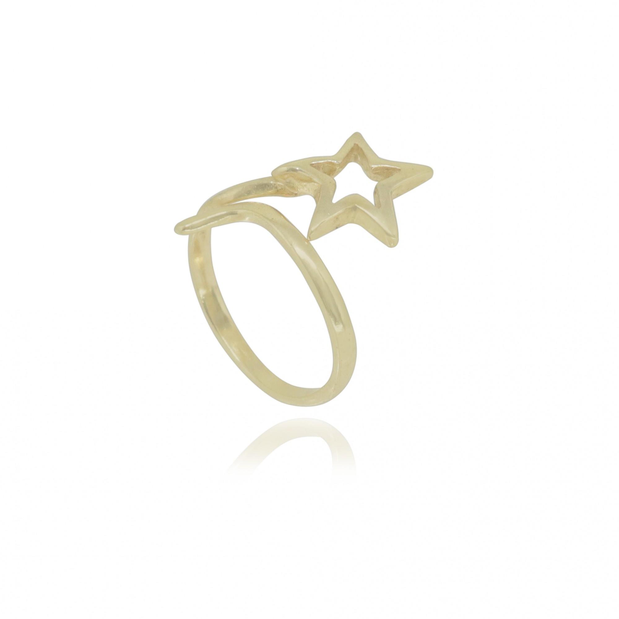 Anel falange semijoia Estrela folheada a ouro 18k / ródio