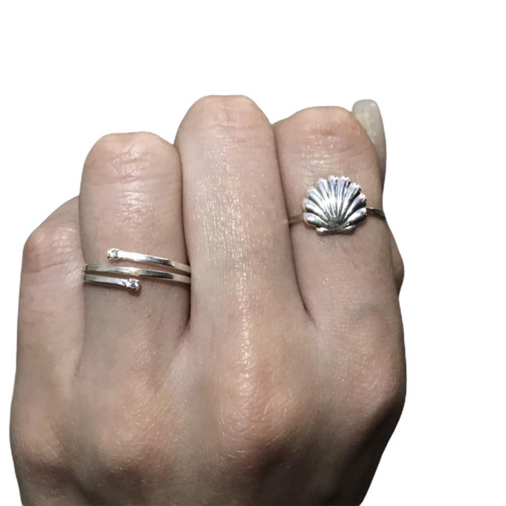 Anel joia em prata 925 aros abertos