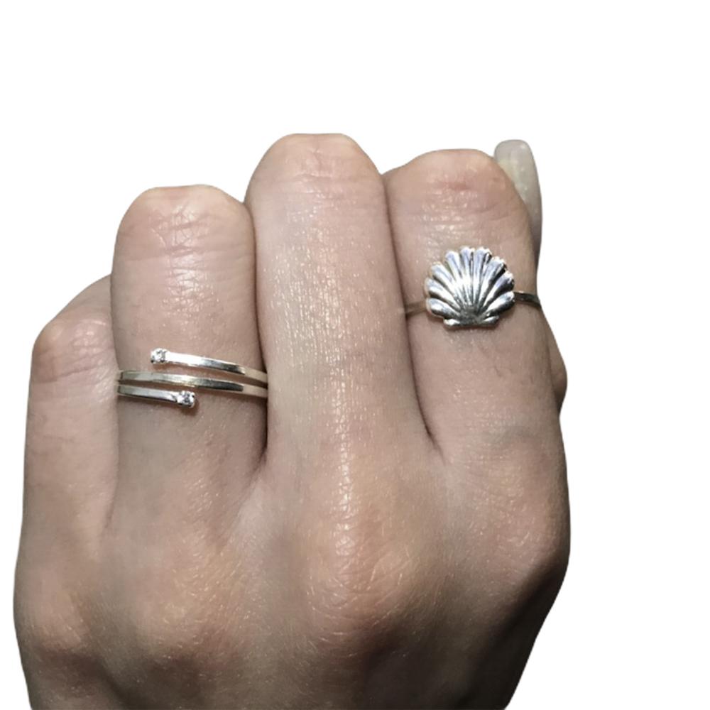 Anel joia prata de lei 925 pura aros abertos hipoalergênica