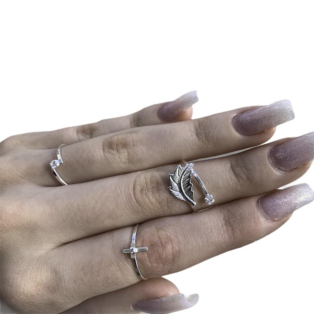 Anel joia em prata 925 com zirconia cravejada mini Cruz