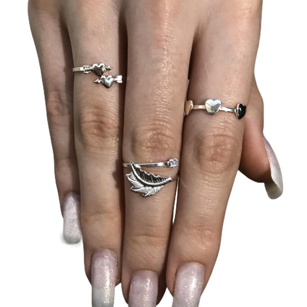 Anel joia em prata 925 coração flechado