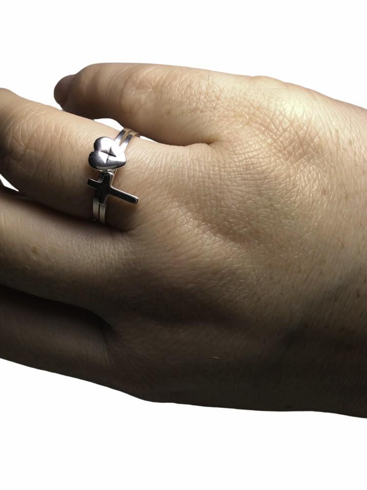 Anel joia em prata 925 duplo com duas graças