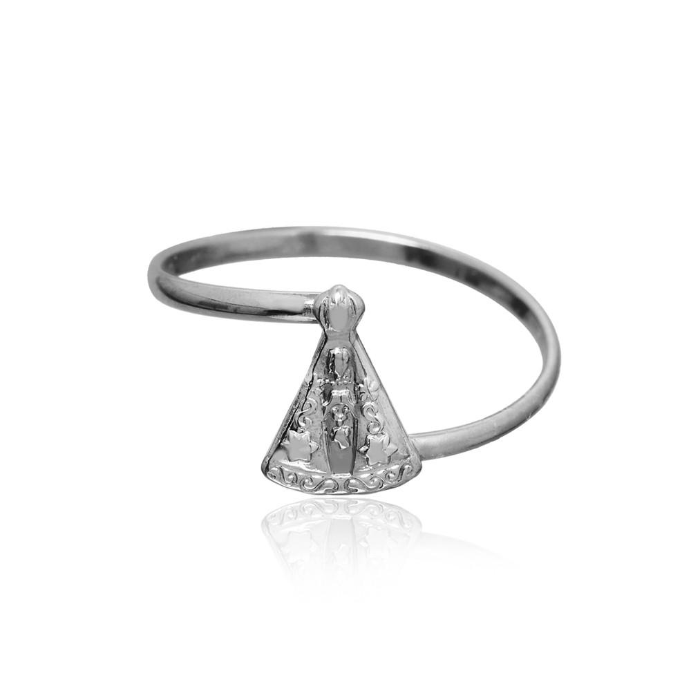 Anel joia prata 925 Nossa Senhora Aparecida hipoalergênica