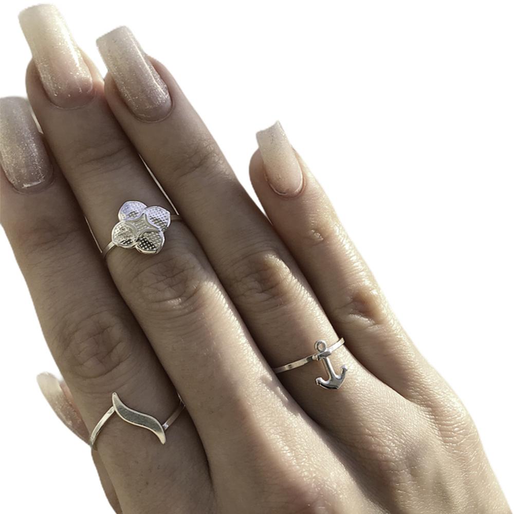 Anel joia em prata de lei 925 pura onda hipoalergênica