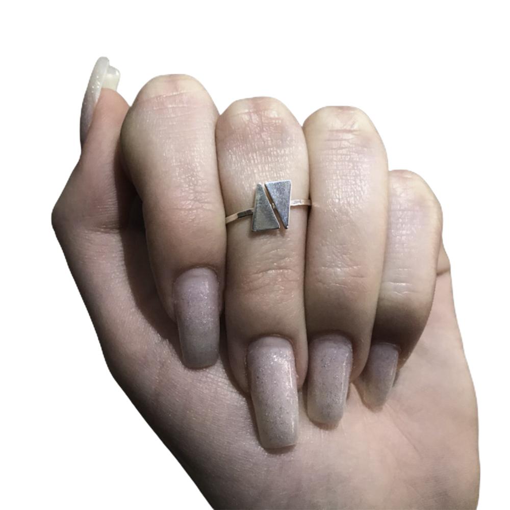 Anel joia em prata 925 pura minimalista regulável triângulos