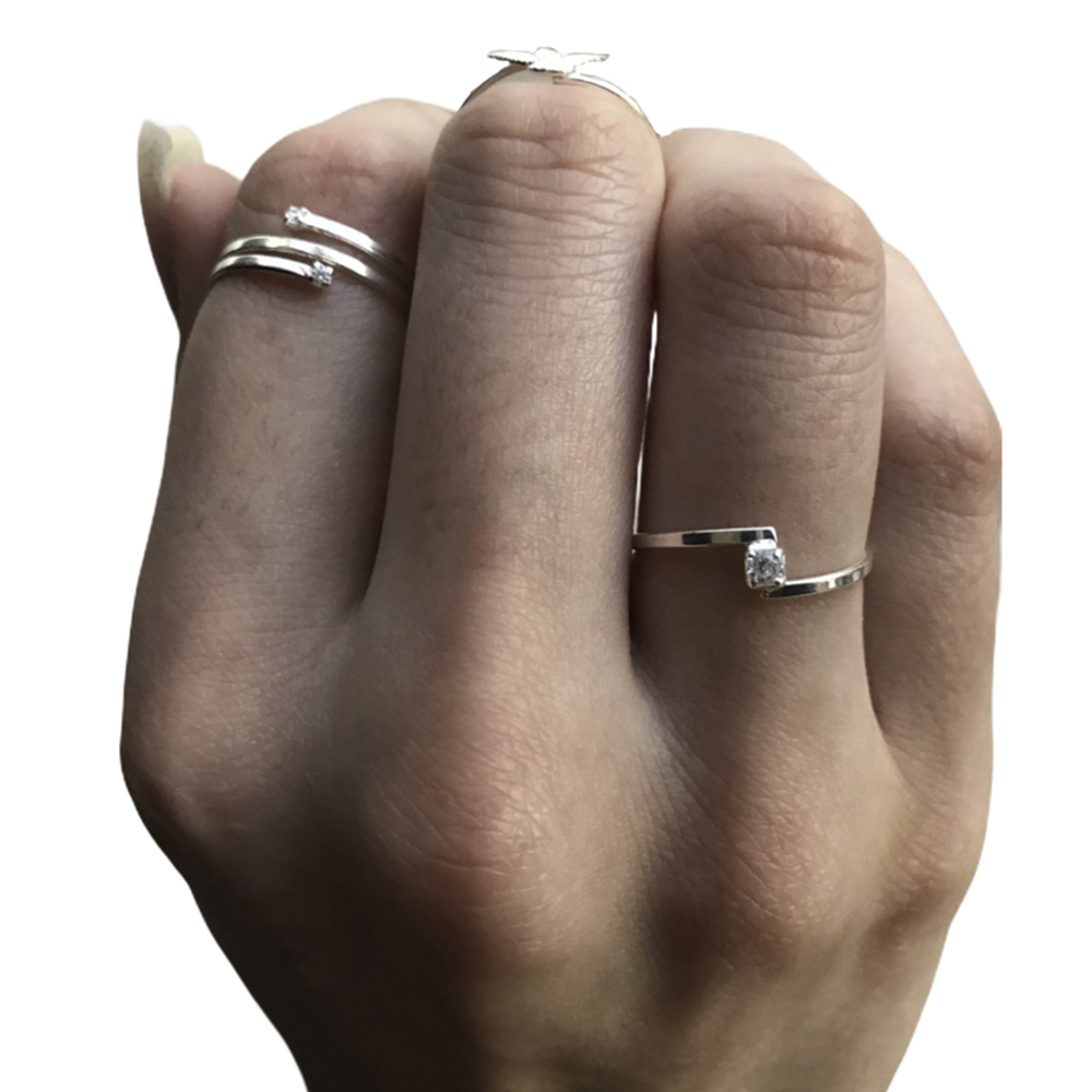 Anel joia prata de lei 925 pura de zirconia hipoalergênica