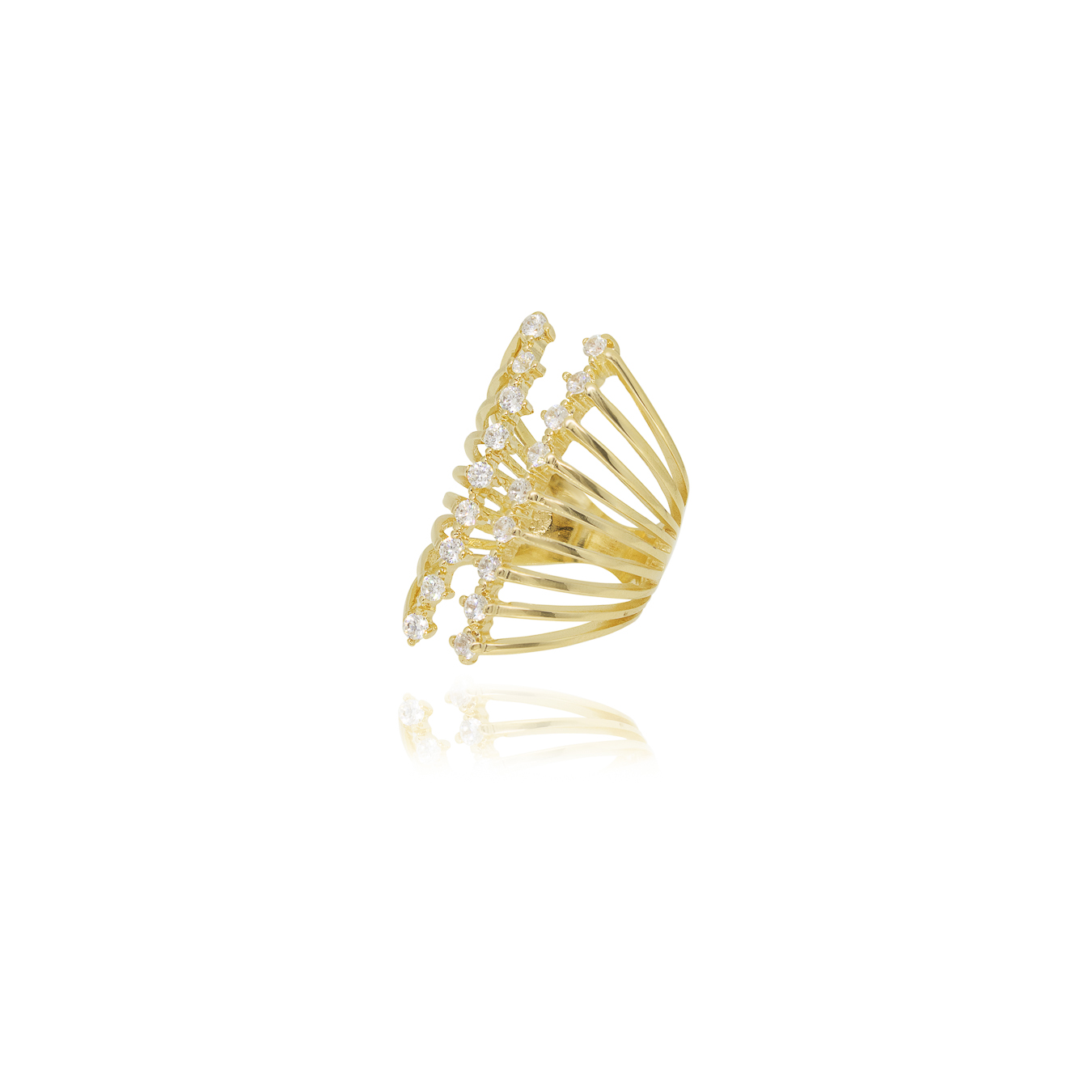 Anel regulável folheado ouro ou ródio londo com zirconias
