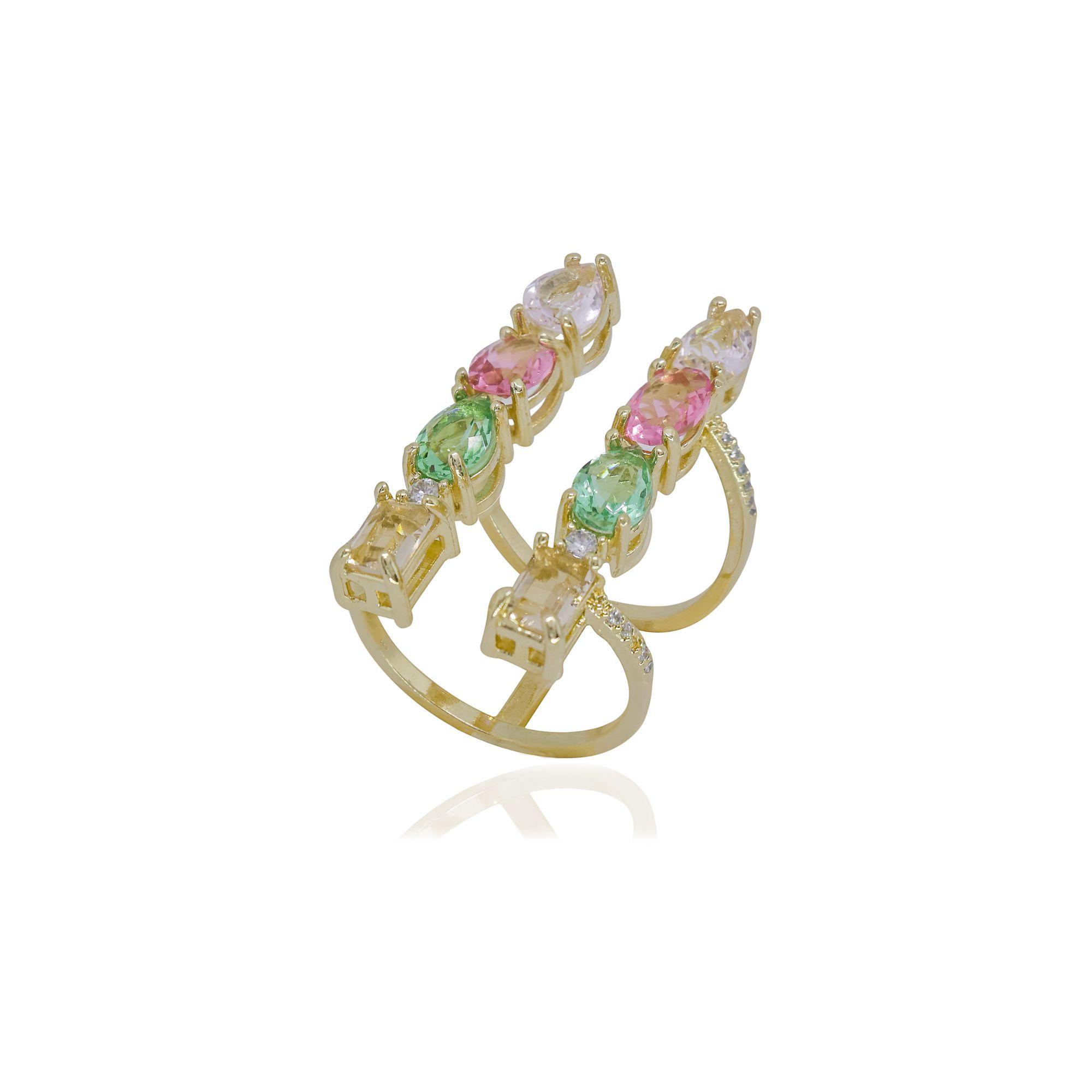 Anel regulável semi joia Colorato com cristais, microzircônias e banhado a ouro 18k ou rhodium