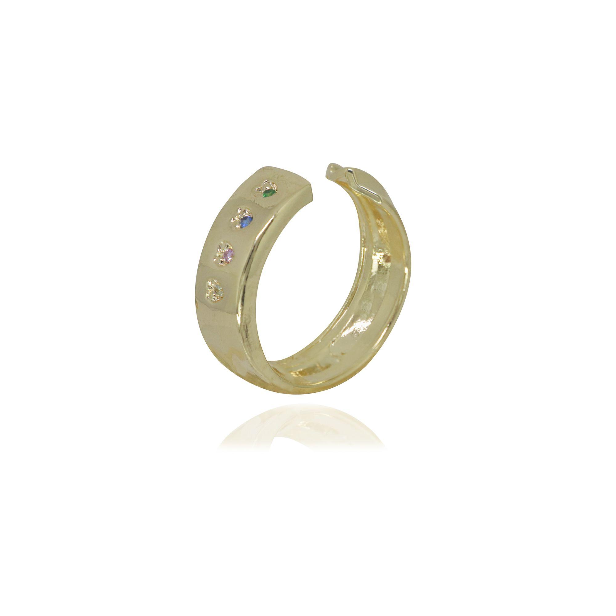 Anel regulável semi joia Imagine Coração com microzircônias e folheado a ouro 18k ou rhodium
