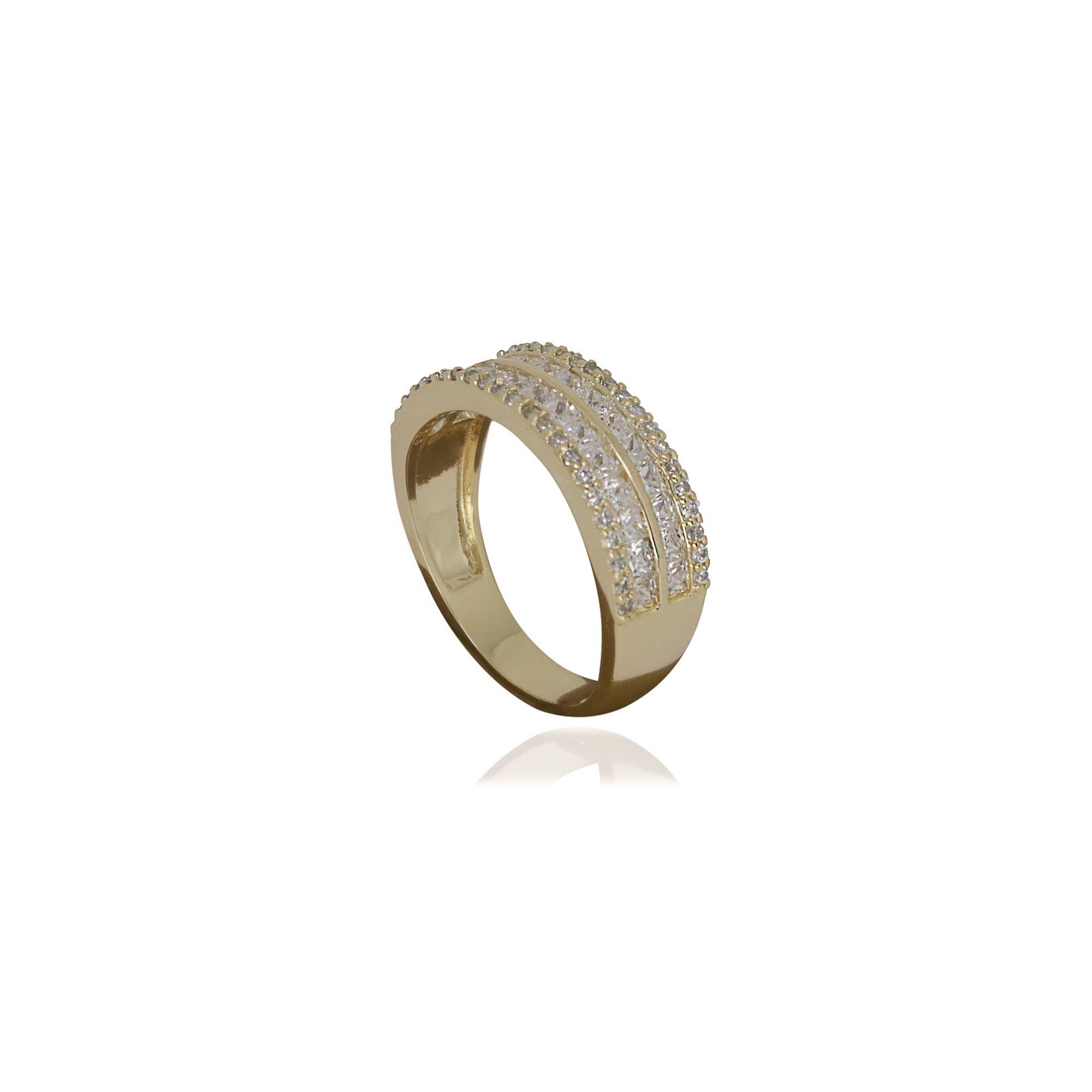 Anel semijoia aliança dupla em zircônia e folheado a ouro 18k ou rhodium
