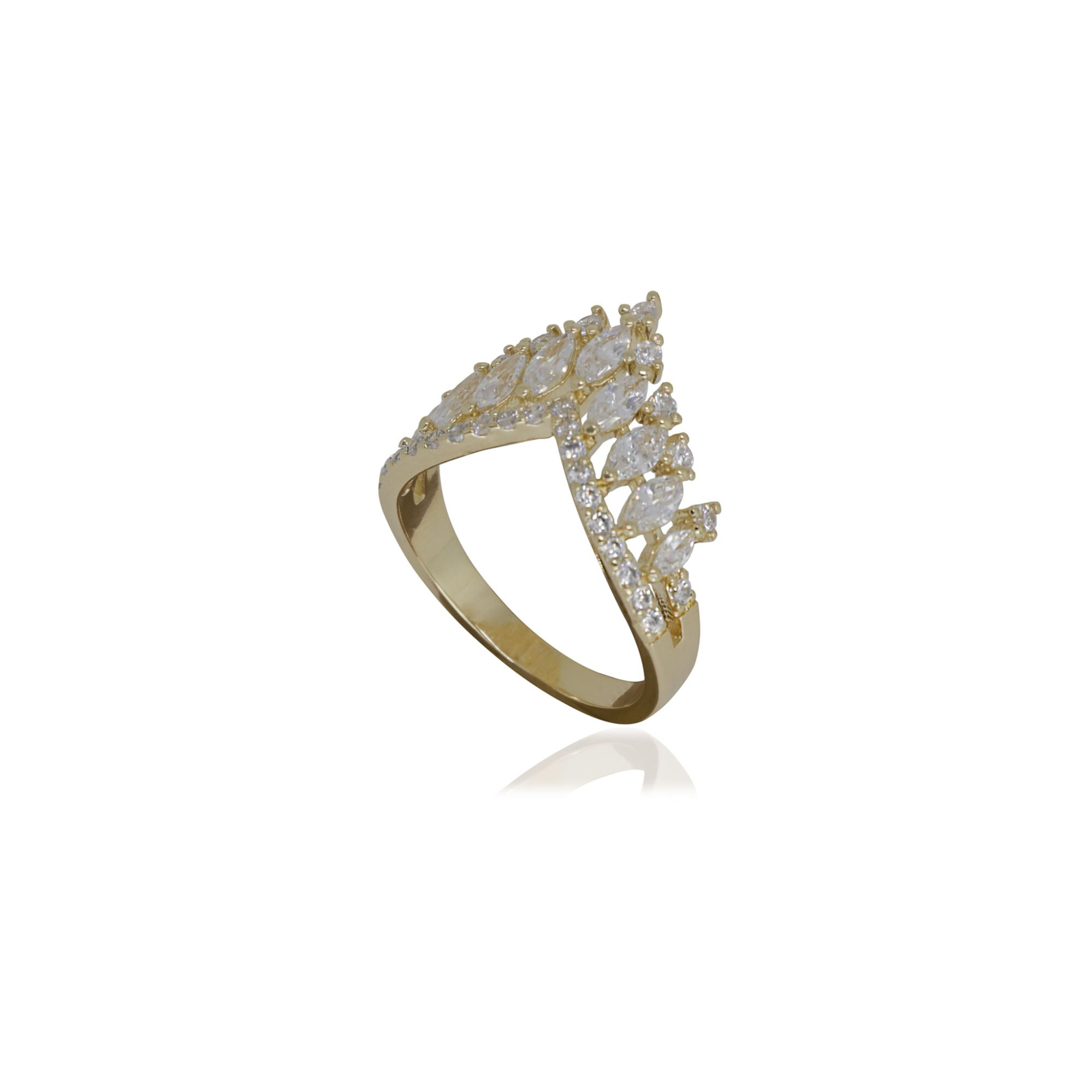 Anel Semi joia coroa em zircônia e banhado a ouro 18k ou rhodium