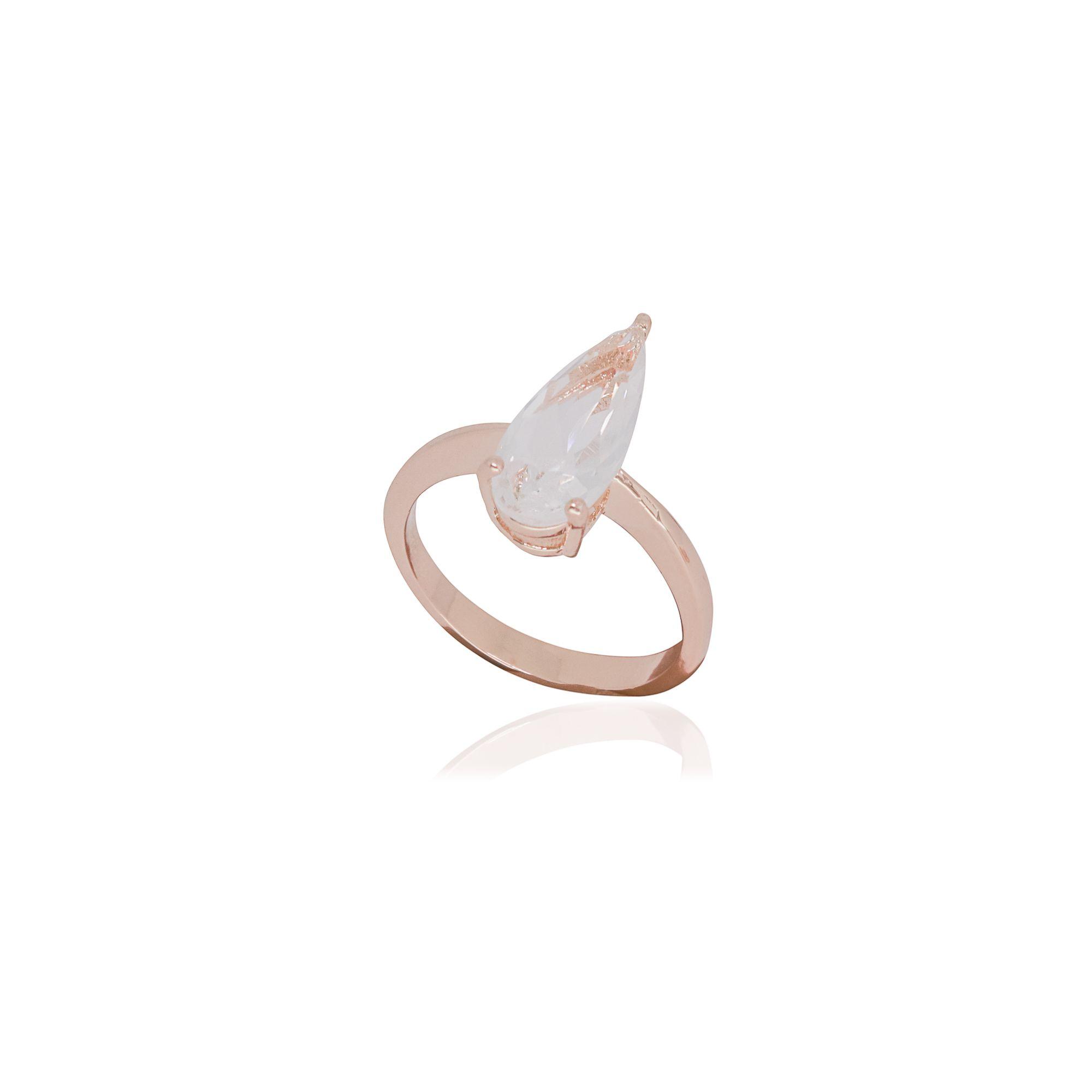 Anel Semi joia gota alongada em cristal e banhado a ouro 18k ou rhodium
