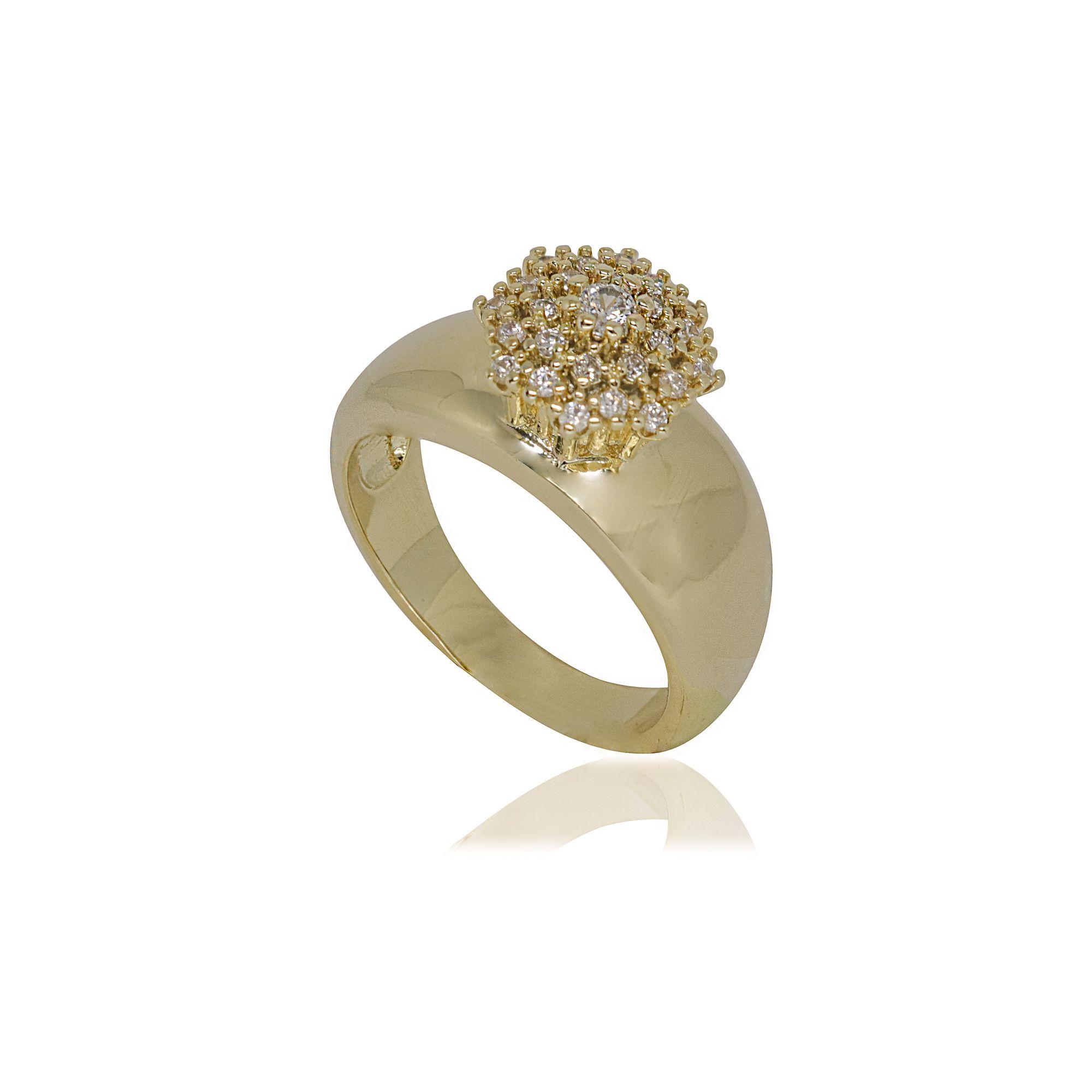 Anel Semi joia largo chuveirinho banhado a ouro 18k ou rhodium