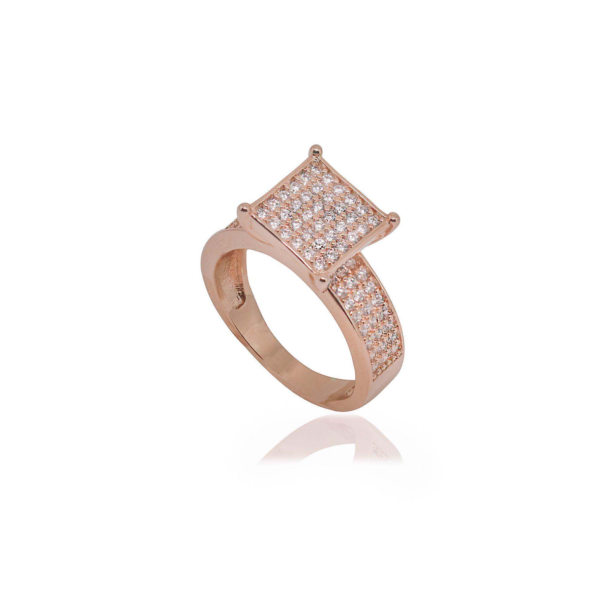 Anel Semi joia quadrado cravejado e banhado a ouro 18k ou rhodium