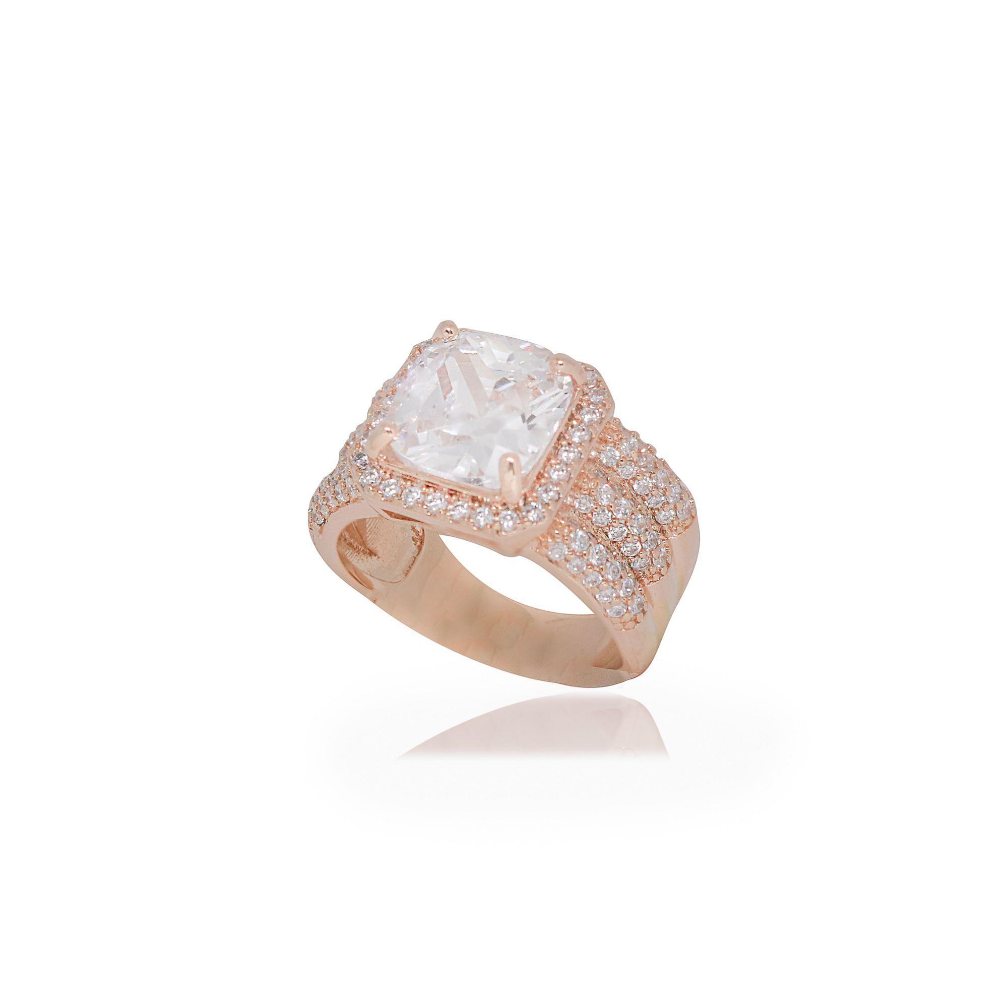 Anel semijoia Quadrado cristal com 3 camadas em microzircônia e folheado a ouro 18k ou rhodium