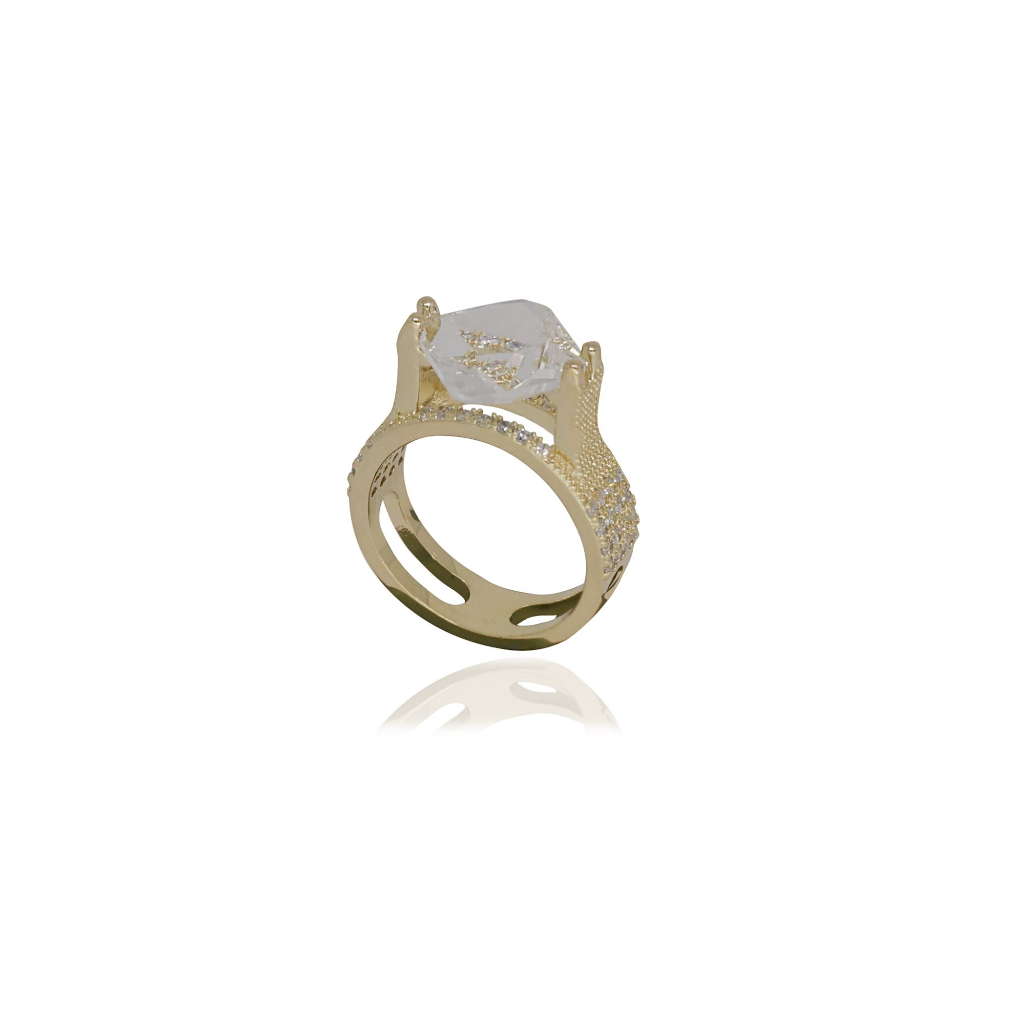 Anel semijoia Quadrado cristal e zircônia e folheado a ouro 18k ou rhodium