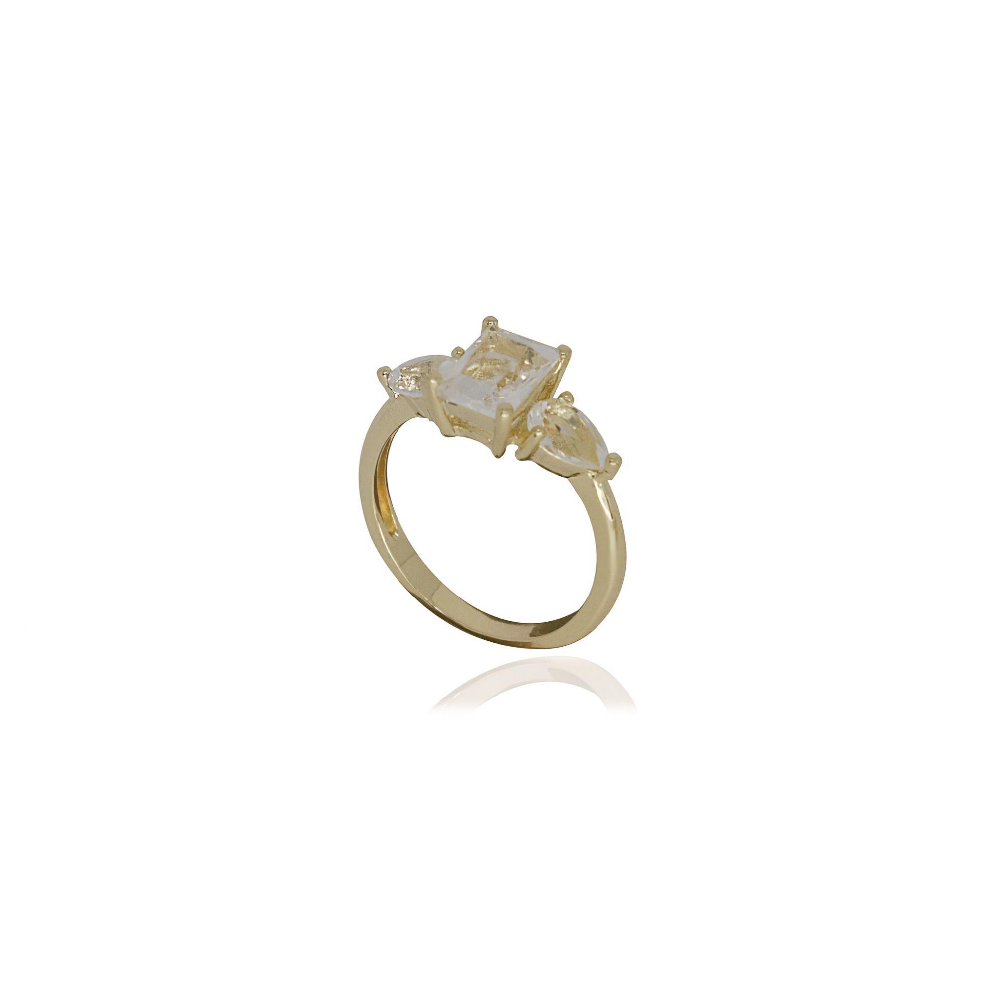 Anel Semi joia quadrado e gotas em cristal e banhado a ouro 18k ou rhodium