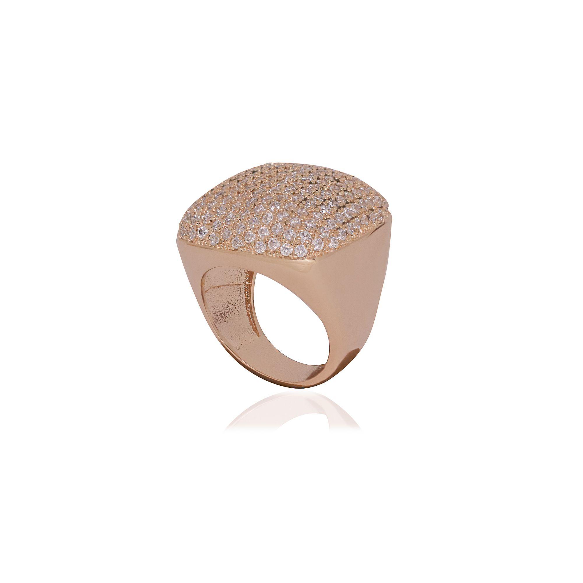 Anel Semi joia quadrado em microzircônia e banhado a ouro 18k ou rhodium