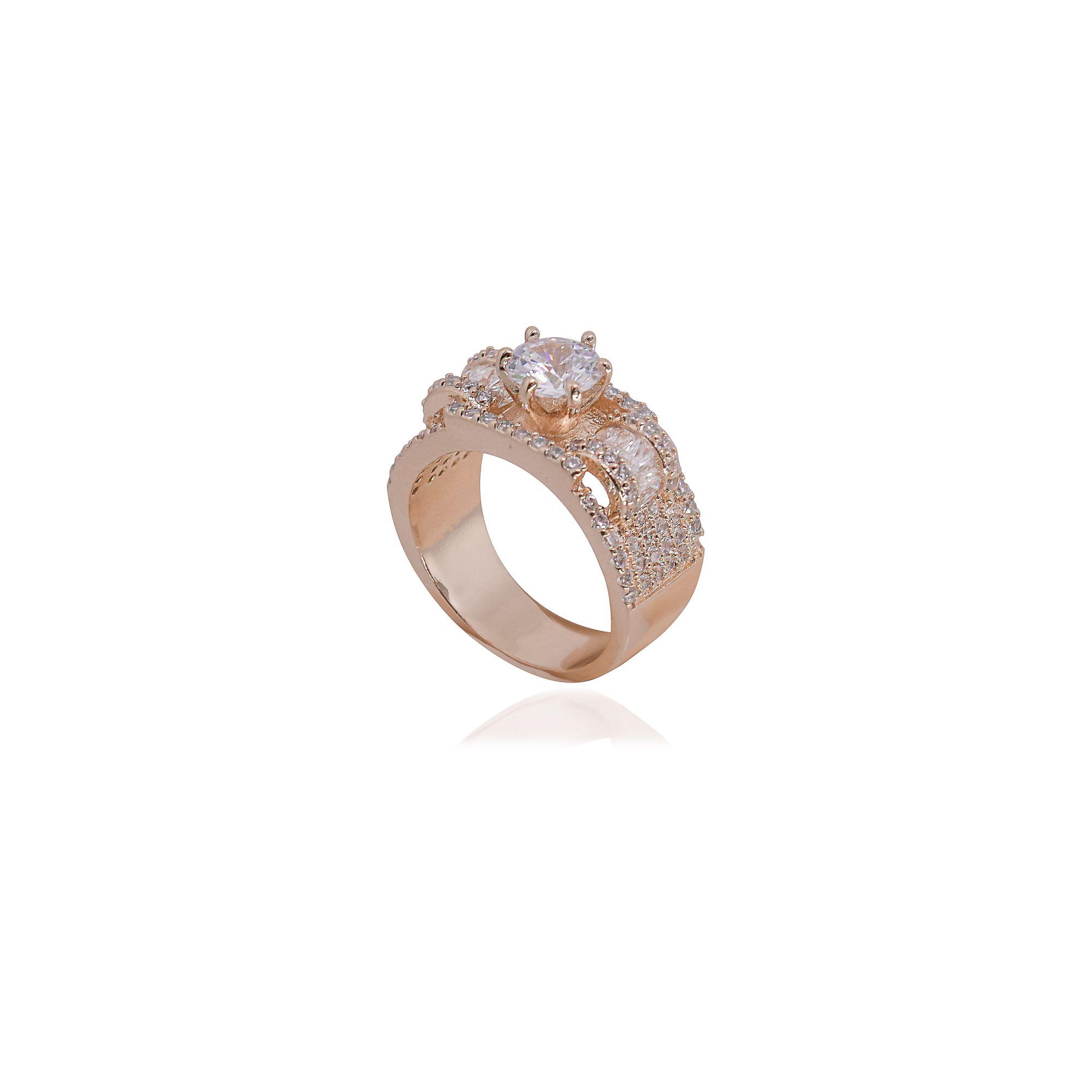 Anel Semi joia Solitário largo baguettado em zircônia e banhado a ouro 18k ou rhodium