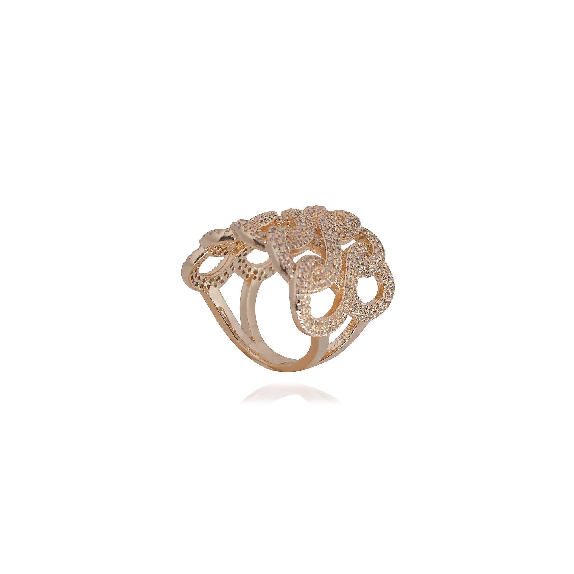 Anel Semi joia tranças em microzircônia e banhado a ouro 18k ou rhodium