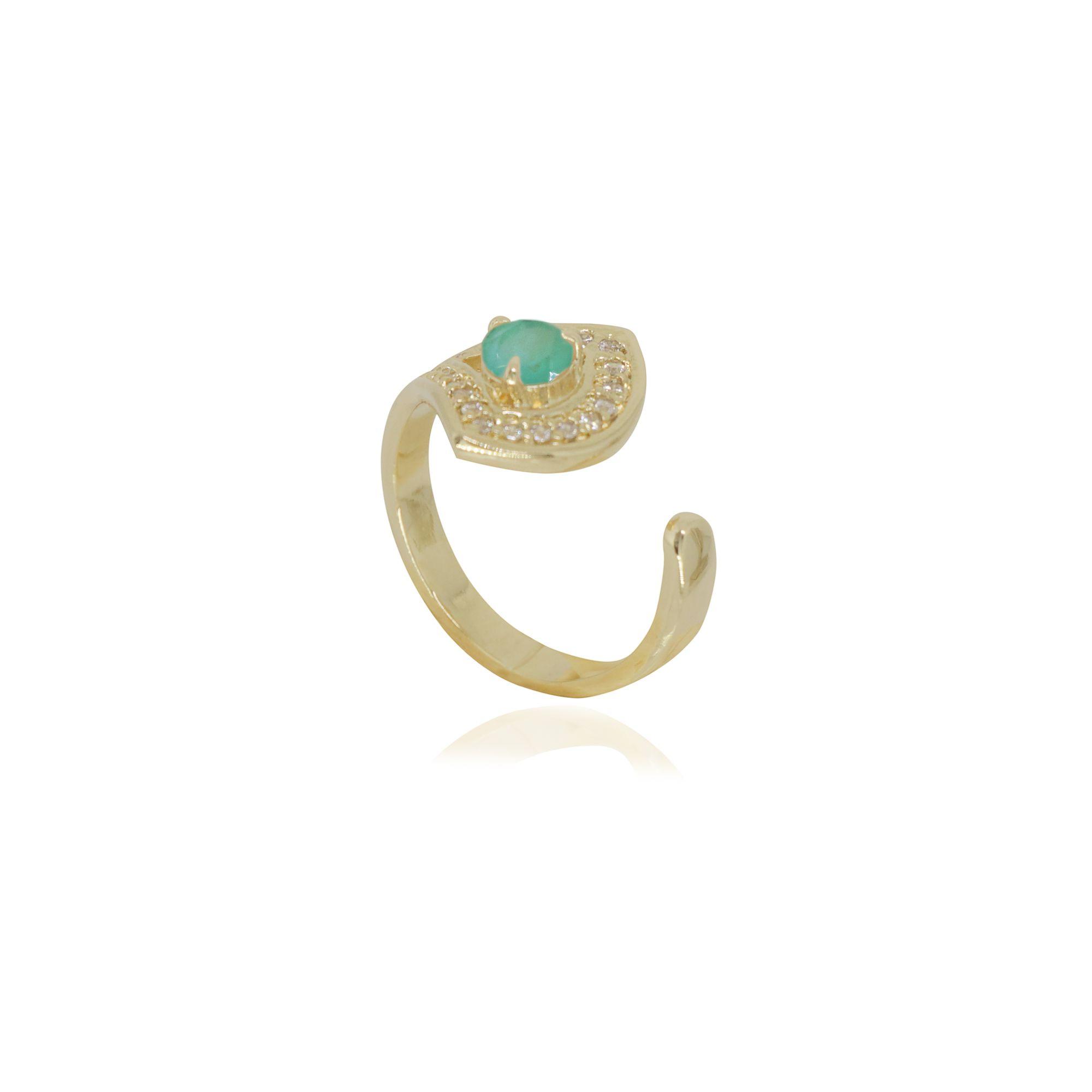 Anel semi joia virtuosa com cristal fosco, cravejado e banhado a ouro 18k ou rhodium