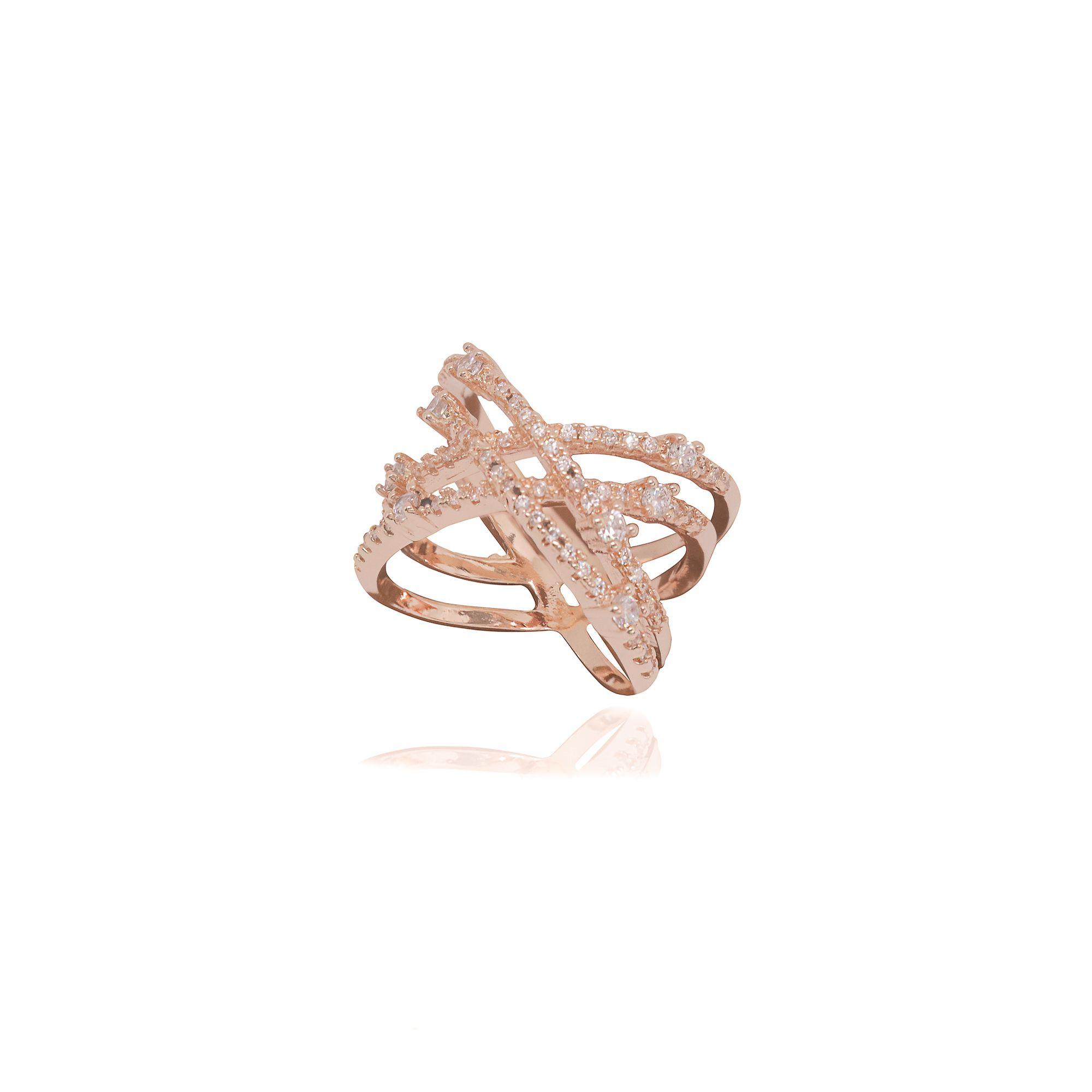 Anel Semi joia X duplo em zircônia e banhado a ouro 18k ou rhodium