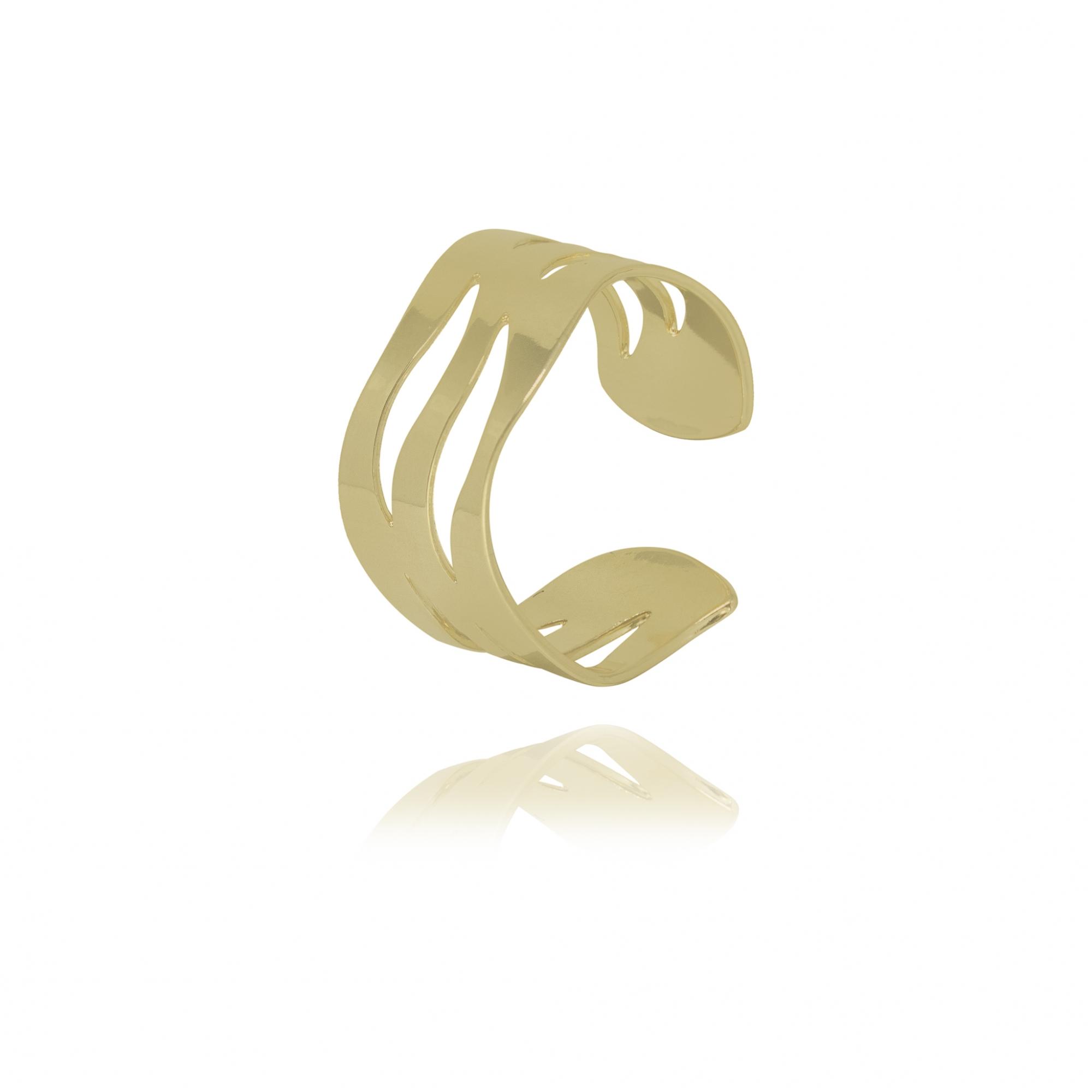 Anel semijoia regulável ondas vazadas folheado a ouro 18k