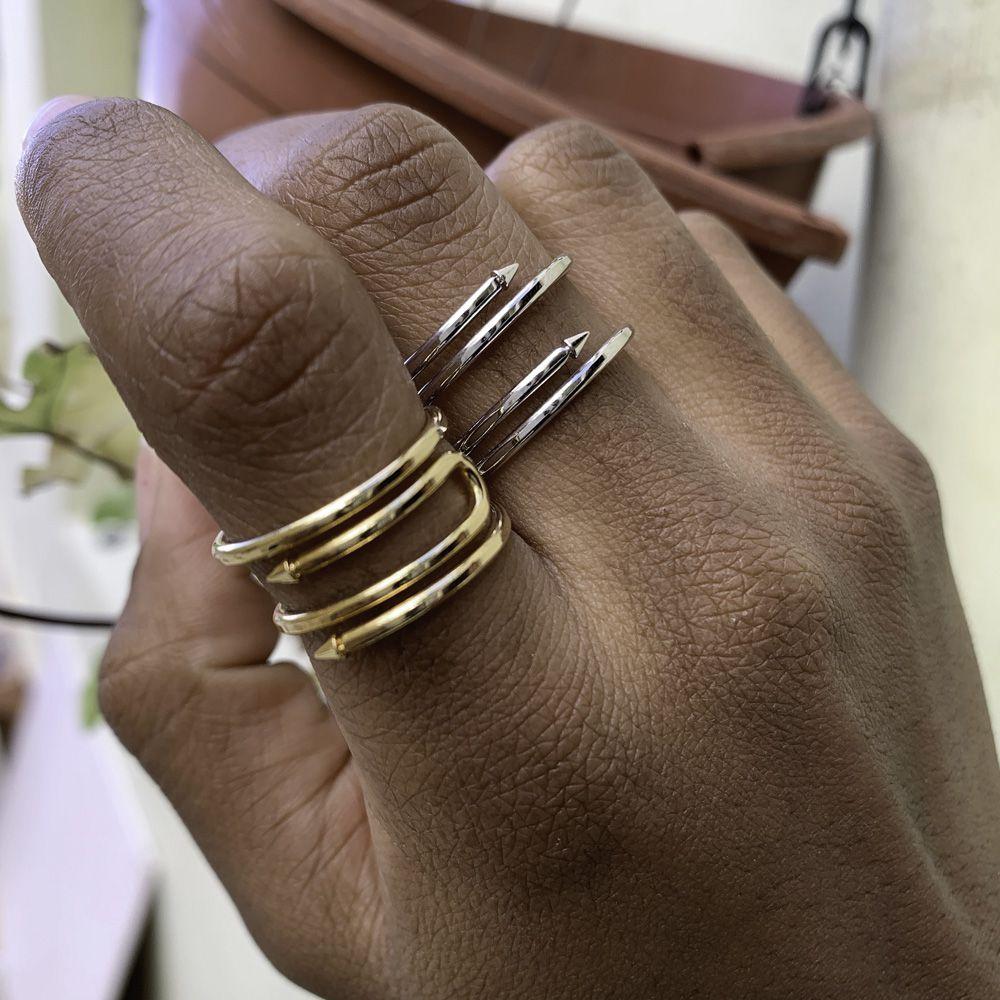 Anel semijoia Spike folheado a ouro 18k ou rhodium