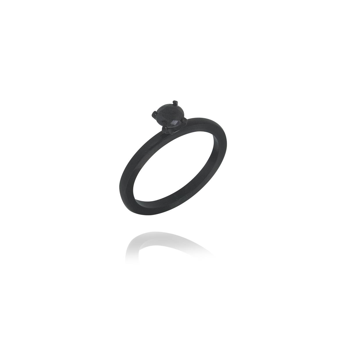 Anel solitário aço inox Black zircônia resistente e durável