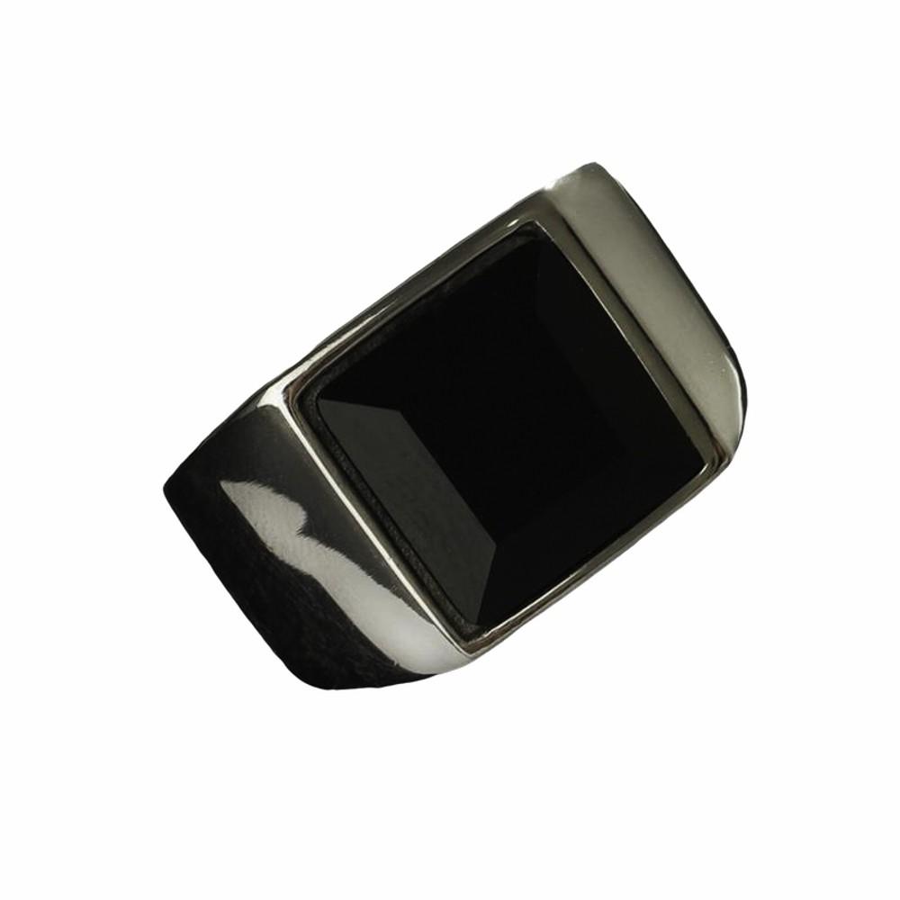 Anel solitário de aço inox e pedra negra quadrada