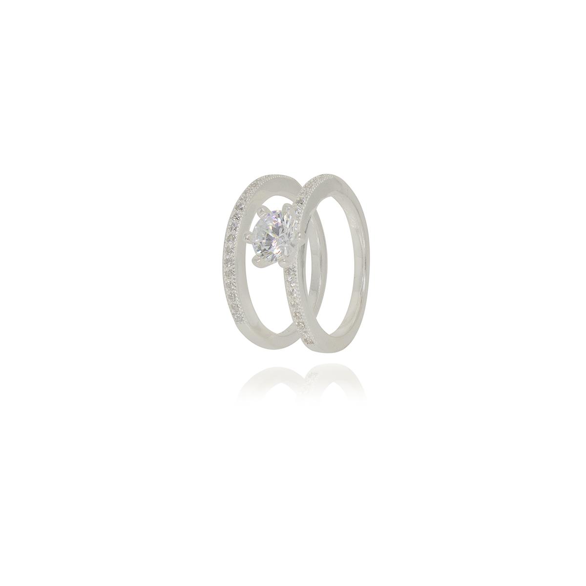 Aparador e solitário joia prata 925 pura cravejado zircônia