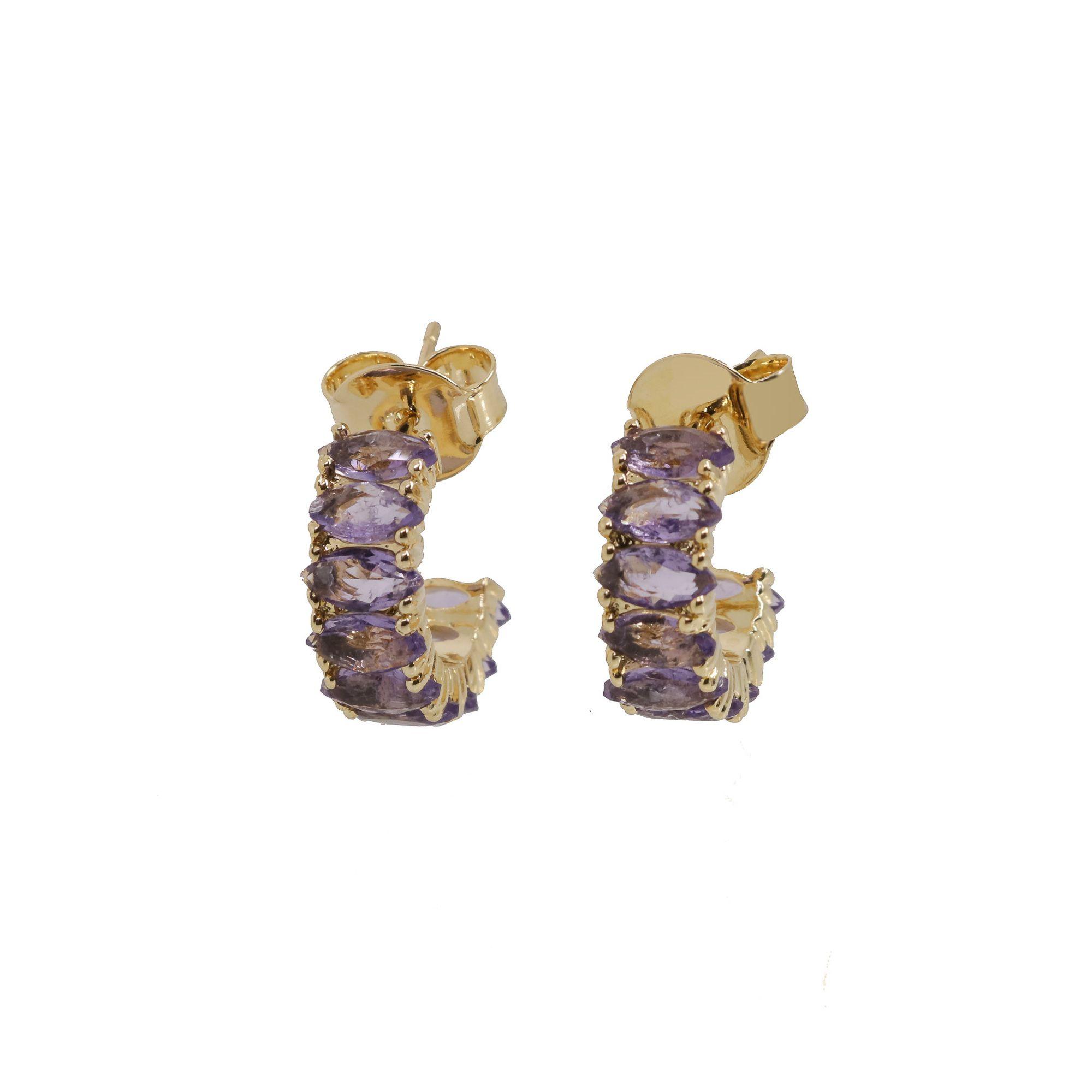 Argola semijoia zirconia Fusion Navette folheado