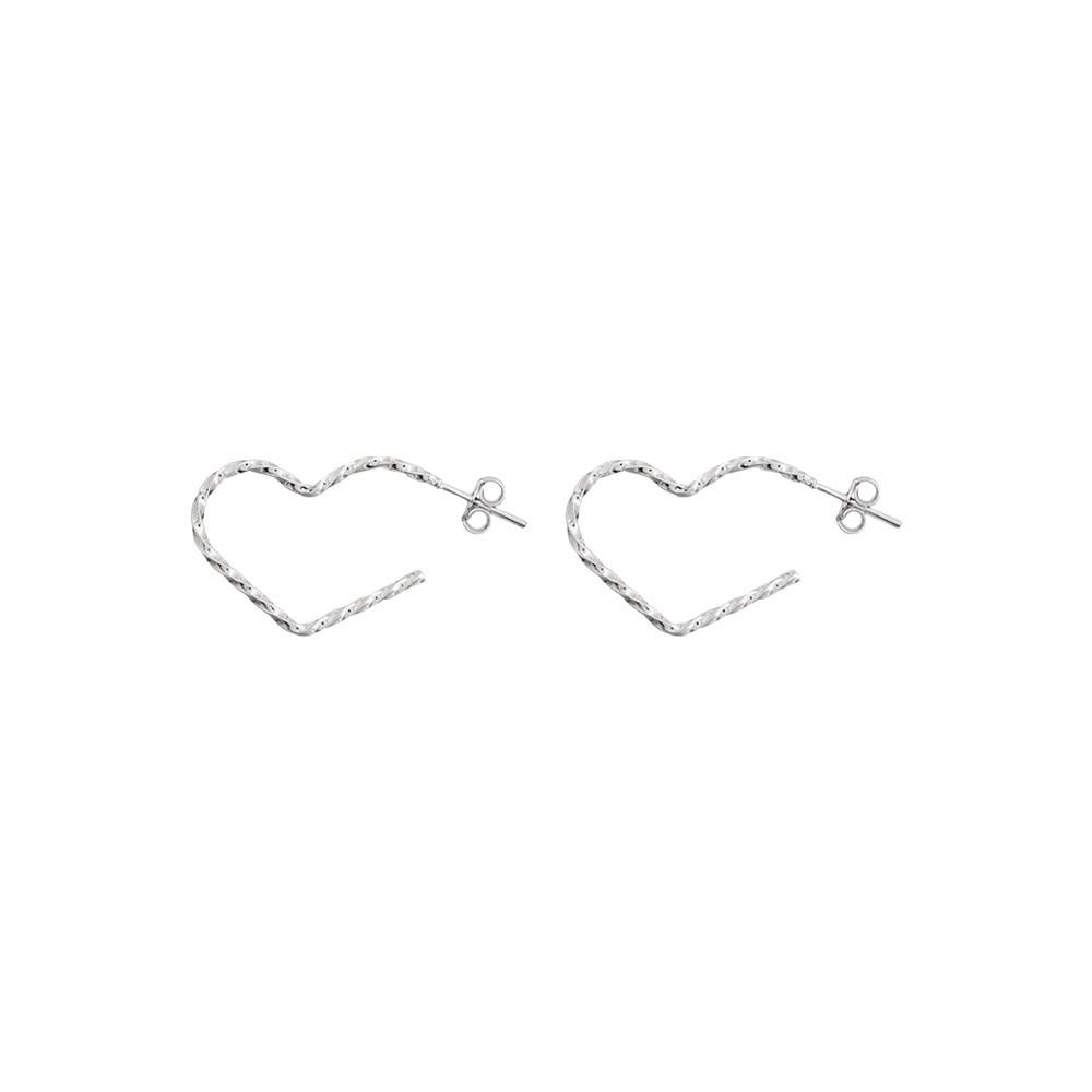 Argola joia em prata 925 pura coração com fio torcido