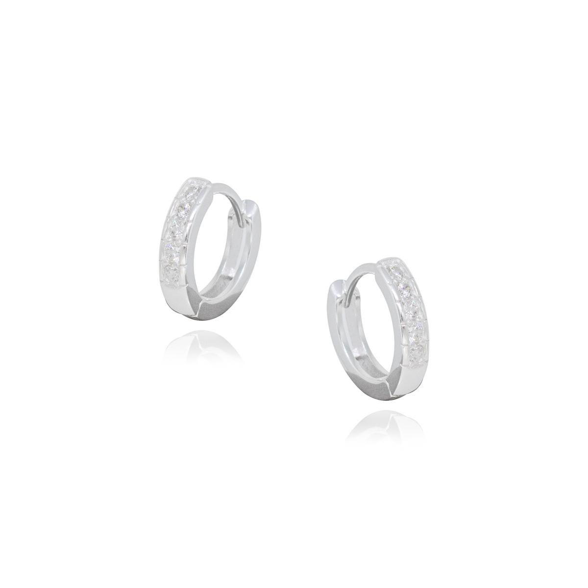 Argola joia prata 925 maciça cravejada em zirconia