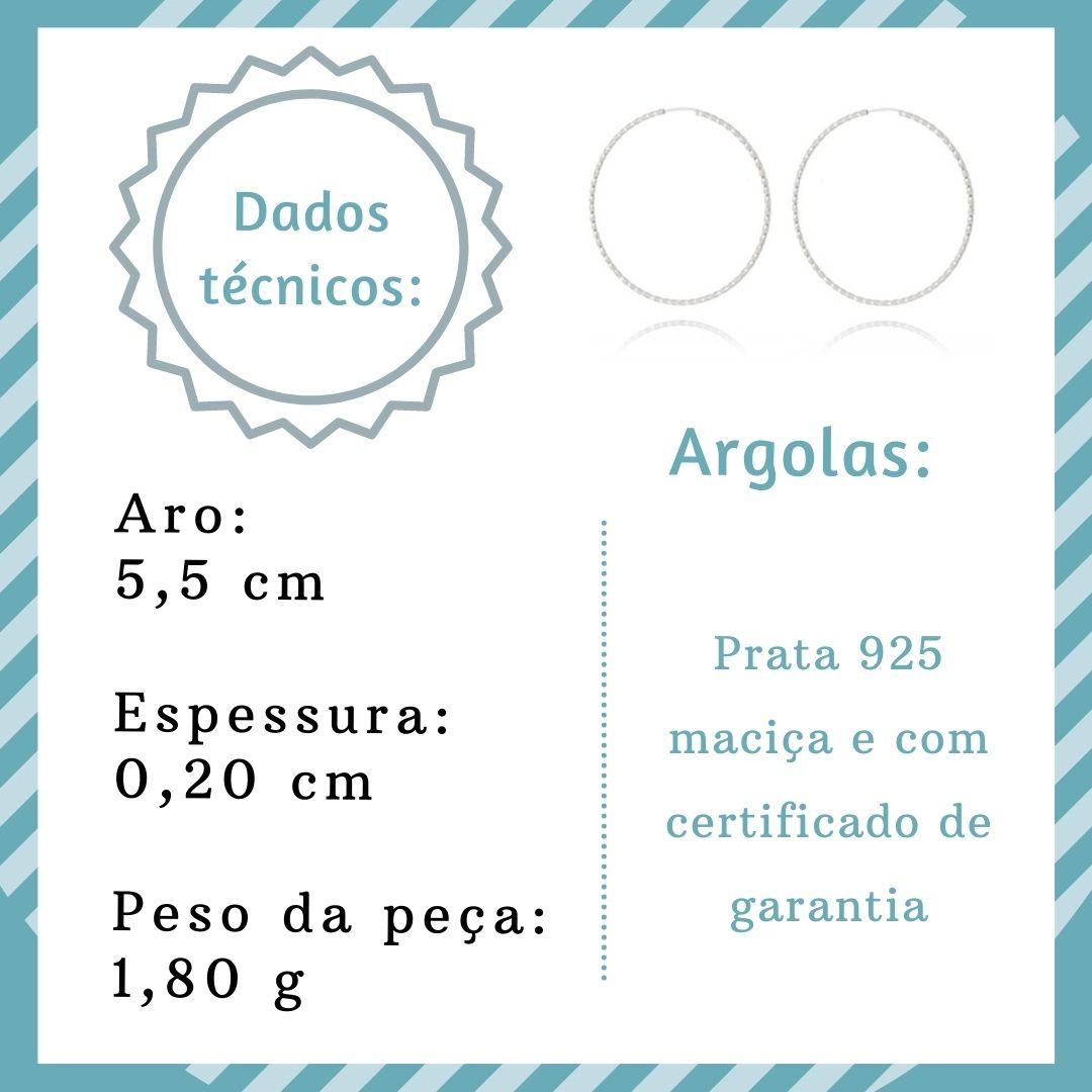 Argola joia prata 925 pura Fio torcido hipoalergênica