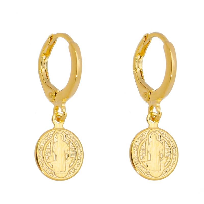 Argola Medalha de São Bento PP semijoia folheada a ouro 18k