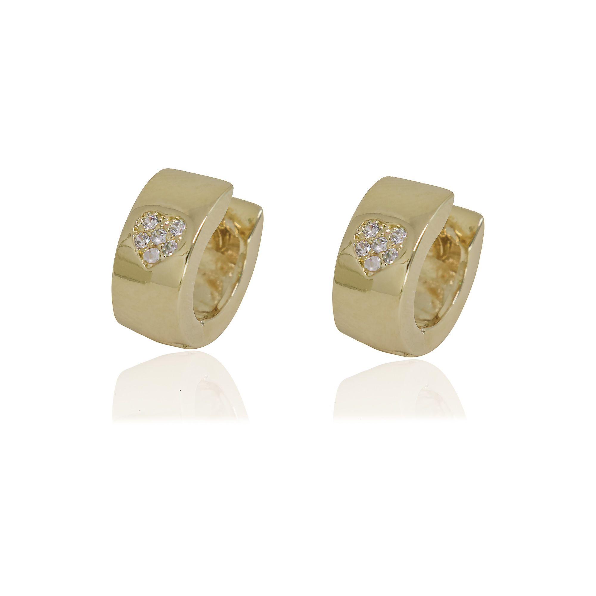 Argola semi joia folheada a ouro 18k ou rhodium com coração cravejado em microzircônia