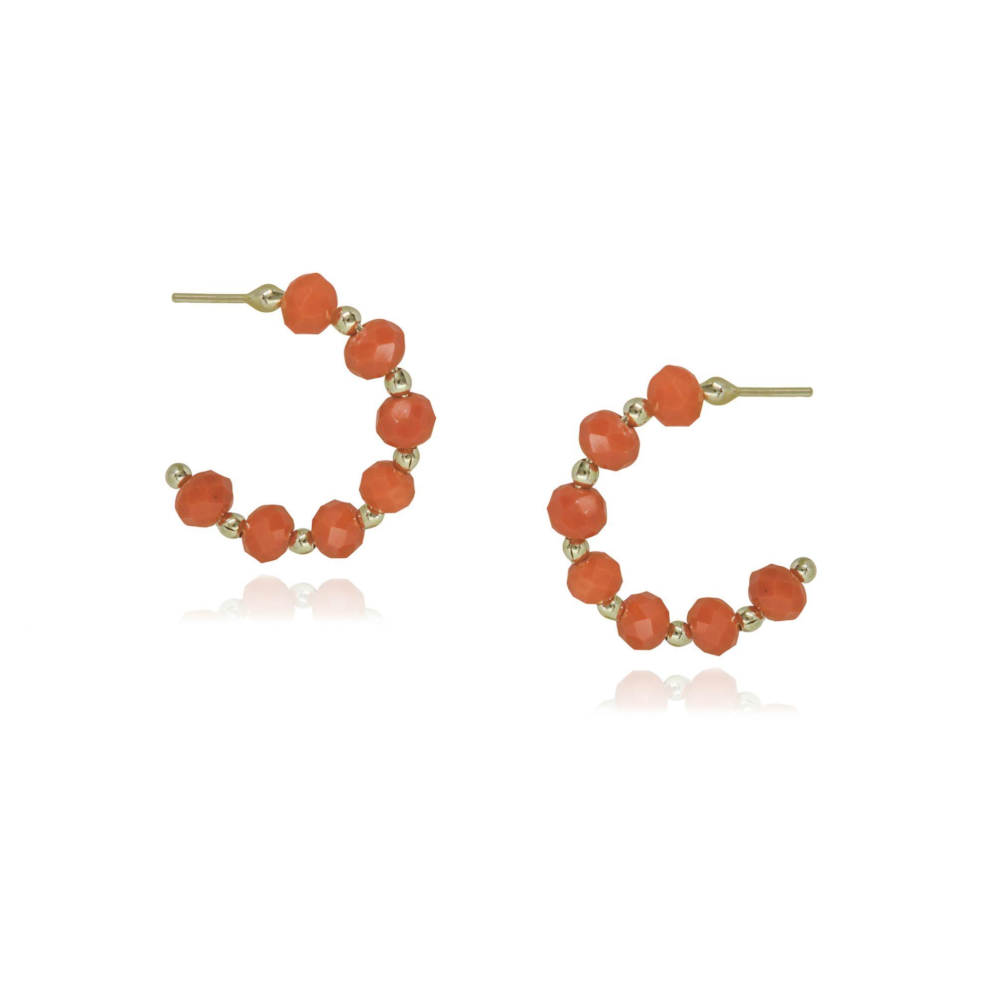 Argola folheada semijoia com Cristais coloridos P