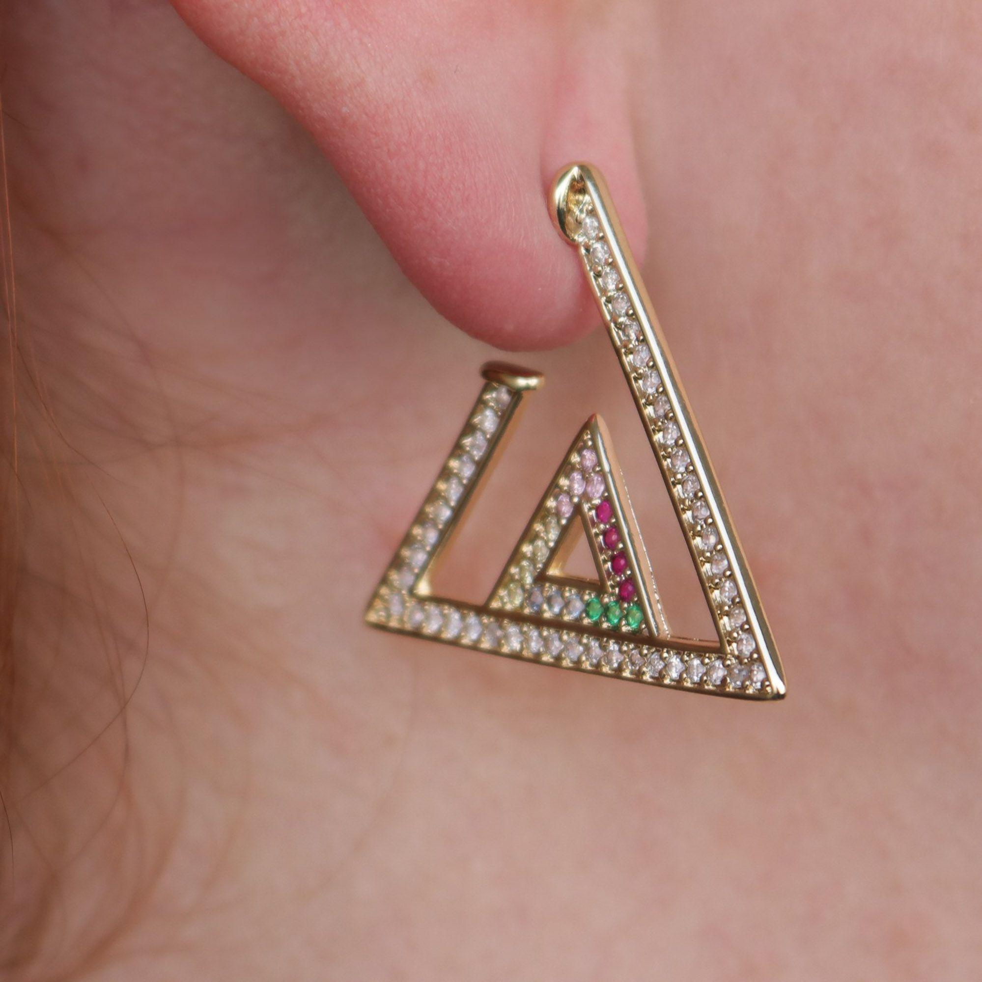 Brinco Semi joia Argola triangulo Mimos banhado a ouro 18k ou rhodium
